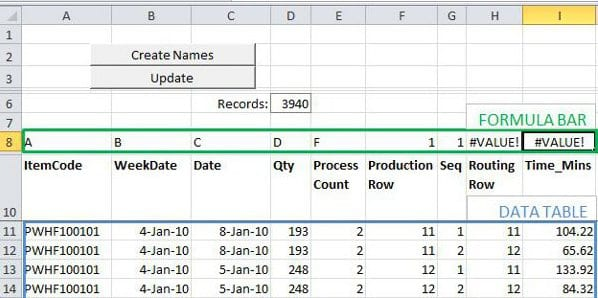 Production planning in Excel- Separate Data, Calculation and Reporting