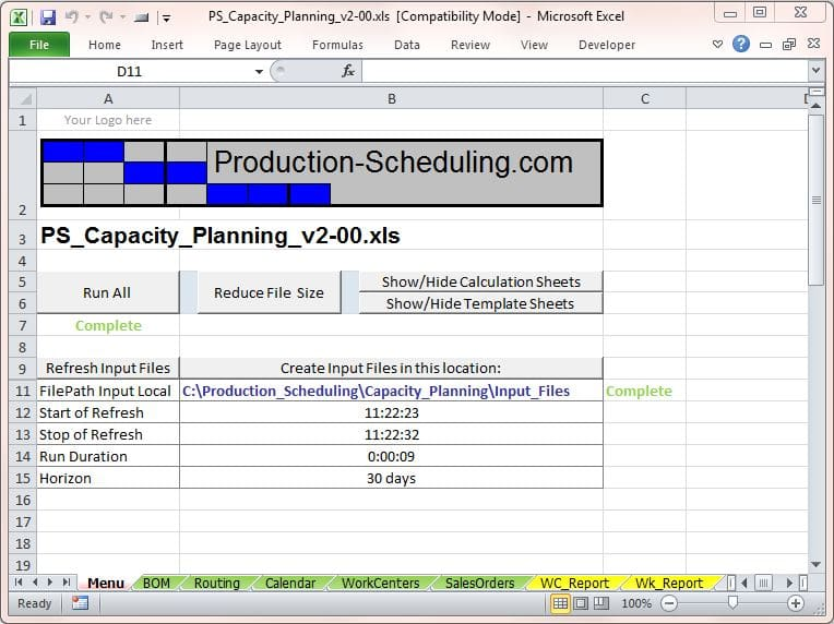 Capacity Planning Tool Download Excel Template for Production Planning