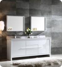 "Fresca FVN8172WH Allier 72"" Double Sink Modern Bathroom ..."