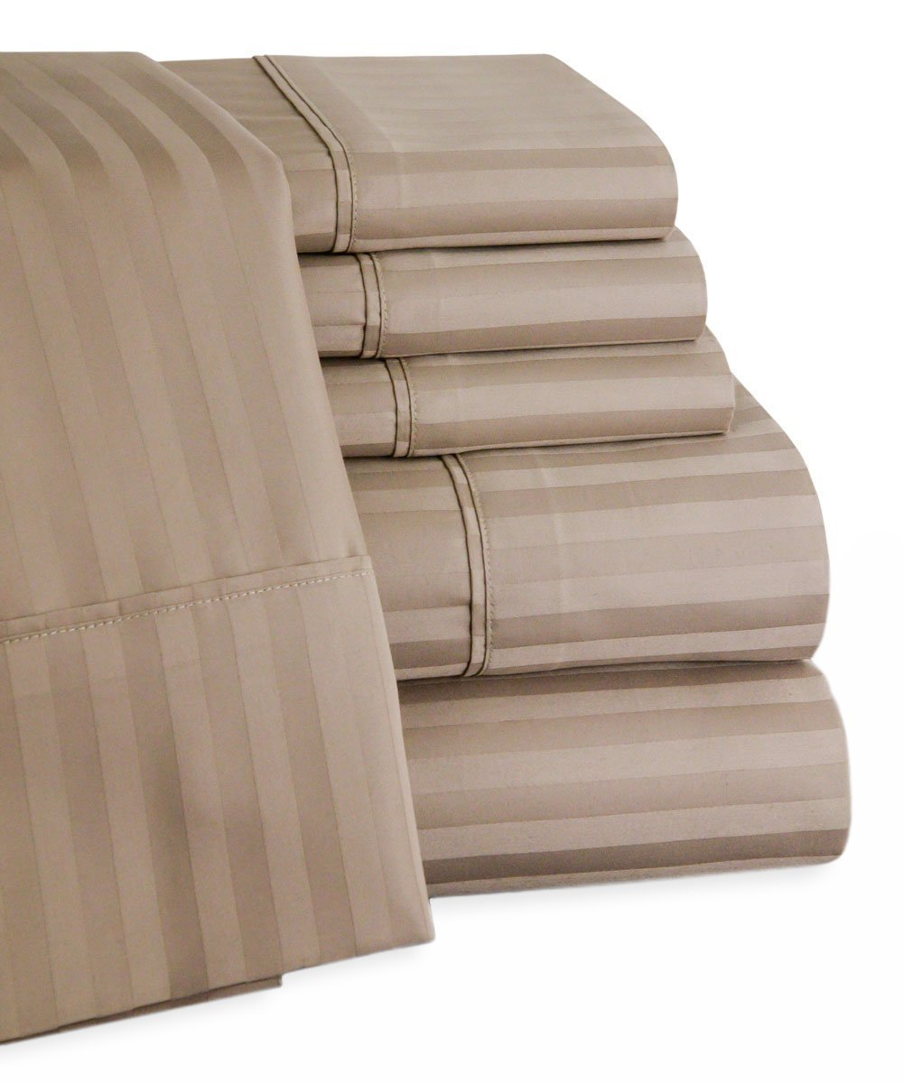 100 Egyptian Cotton Sheets Ec450 Egyptian Cotton Striped 6pc Queen Taupe