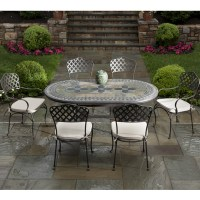 7 Piece Cremona Mosaic Outdoor Patio Dining Set From