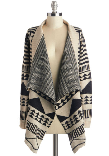 Lawn's Early Light Cardigan - Mid-length, Knit, Tan / Cream, Black, Print, Casual, Rustic, Long Sleeve, Fall, Black/White, Long Sleeve