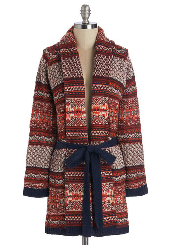 Midnight Flight Cardigan - Red, Multi, Print, Belted, Casual, Rustic, Long Sleeve, Fall, Winter, Gals, Holiday