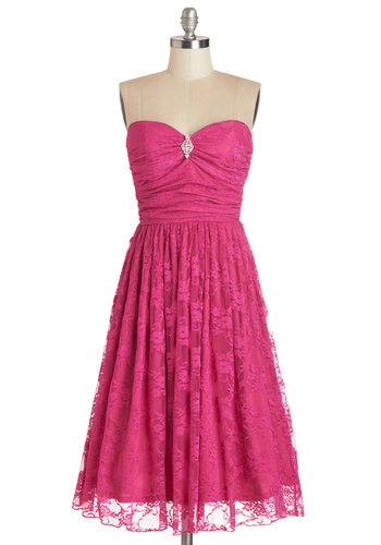Midnight Mambo Dress in Magenta - Pink, Solid, Lace, Rhinestones, Prom, Party, Fit & Flare, Better, Sweetheart, Special Occasion, Strapless, Knit, Lace, Vintage Inspired, 50s, Exclusives, Long, Full-Size Run, Wedding, Bridesmaid, Valentine's, Homecoming