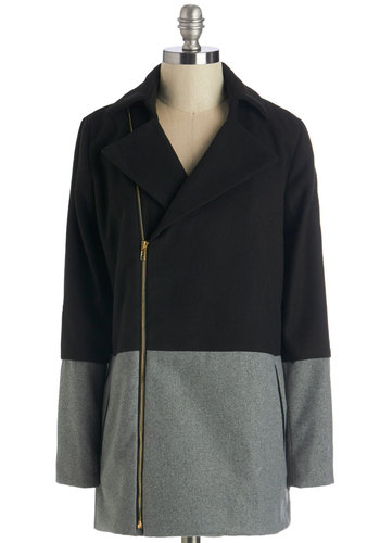 Something to Chalk About Coat in Downtown - Mid-length, Woven, Exposed zipper, Pockets, Colorblocking, Long Sleeve, Winter, Black, Solid, Work, Casual, 60s, Fall, Good, 2, Black