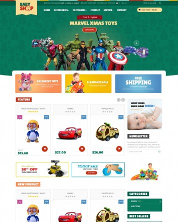 PrestaShop 16 Theme for online Toy Stores