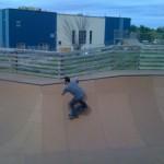 Burton's Noah front-sidin' it at Burton's Burlington Skatepark