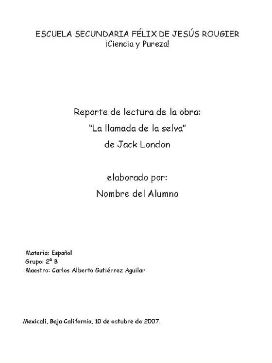 Ejemplo de portada para trabajos escritos