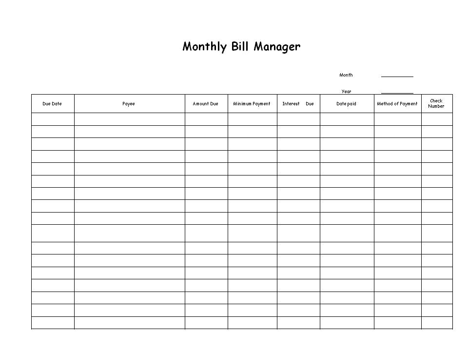 list of monthly bills