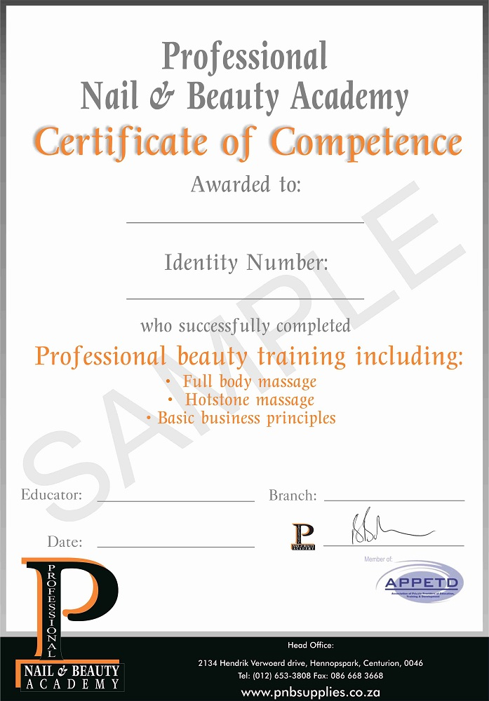Certificate Sample - Professional Nail and Beauty Online Wholesalers - certificate sample