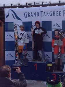 Louis on the top of the podium at the IFSA National Freeride Championship