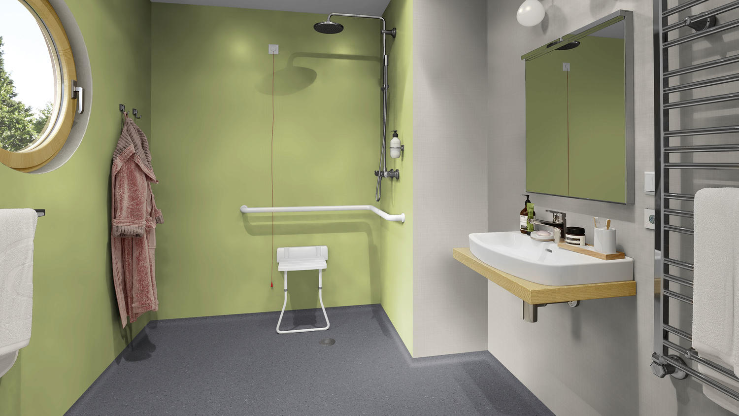Aquarelle Wall Hfs Waterproof Fire Resistant Wall Covering Wetroom Flooring Solutions Tarkett