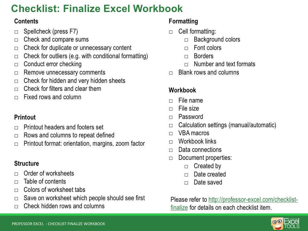 Finalize Your Excel Workbook The Complete Checklist Professor Excel - Excel Check List