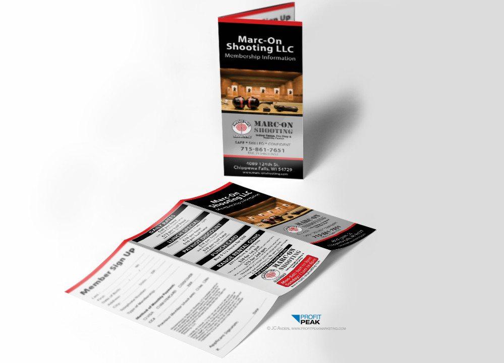 Tri-fold Brochures for Indoor Shooting Range » Profit Peak Marketing