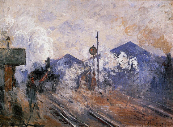 Les voies à la sortie de la Gare Saint-Lazare, 1877
