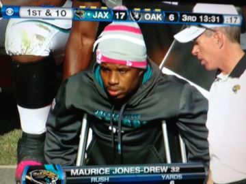 Maurice Jones-Drew on crutches with left foot injury