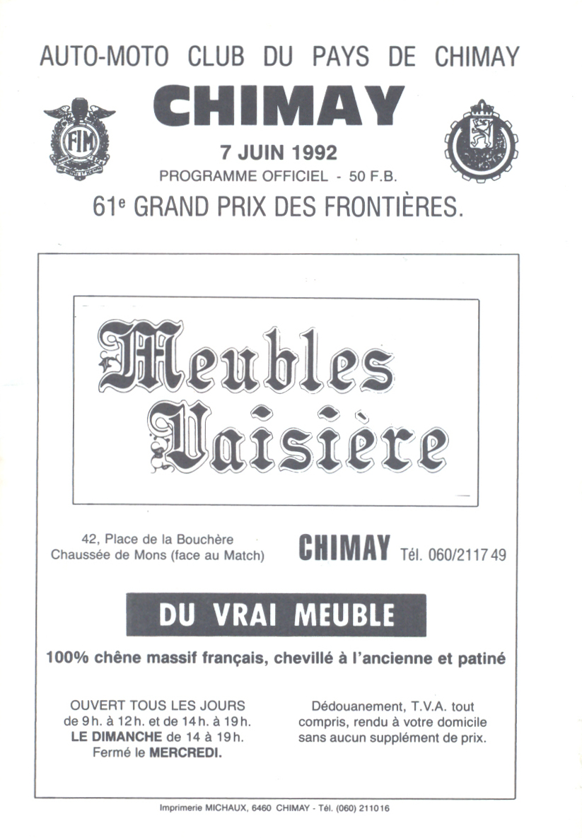 Meubles Richmond Belgique Chimay Street Circuit The Motor Racing Programme Covers Project