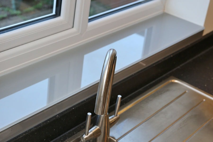 Glass window sill finished in farrow amp ball manor house grey