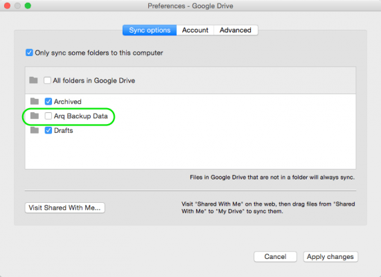 Google Drive settings for Arq 4