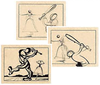 Storyboard for the baseball ballet