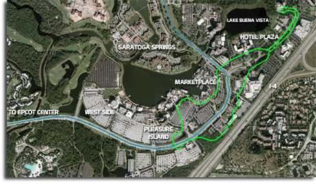 Lake Buena Vista area with monorail and WEDway route
