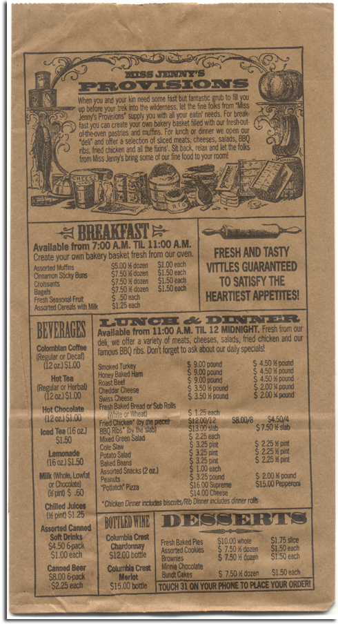 Miss Jenny's menu, Wilderness Lodge, 1994