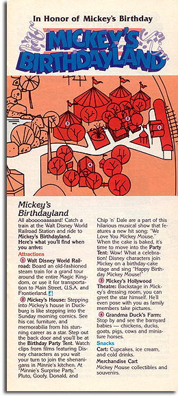 Mickey's Birthdayland map, 1989
