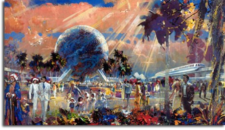 Rendering of Spaceship Earth, EPCOT, by Herb Ryman