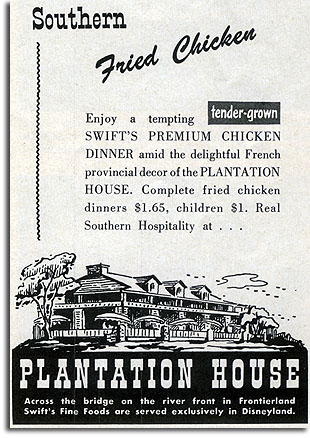 Ad for Disneyland's Plantation House, 1957