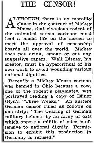 Article about censorship of Disney cartoons, New York Times, Nov. 16th 1930