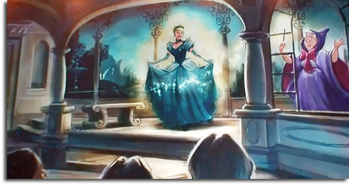 Rendering of Cinderella transforming for the ball at her new meet-and-greet in Fantasyland
