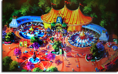 Rendering of the new Dumbo the Flying Elephant attraction at Walt Disney World's Fantasyland