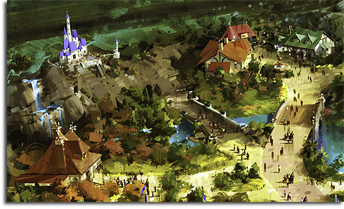 Closeup of Belle's Village and the Beast's Castle from the original rendering of Walt Disney World's Fantasyland expansion