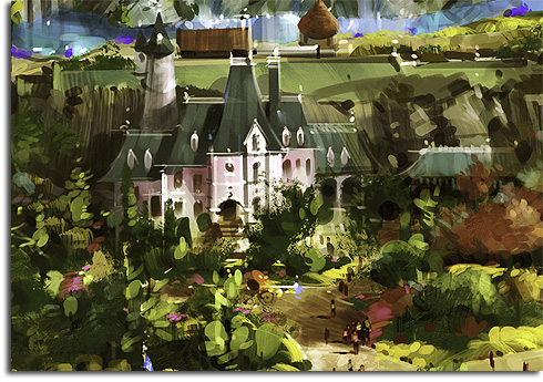 Closeup of Cinderella's Chateau from the original rendering of Walt Disney World's Fantasyland expansion