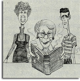 Caricature of Gale Warren, Mary Jo Terry and Mike Funicello by John Musker, 1979