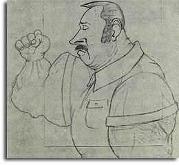 Caricature of Ed Austin by Allen Gonzales, 1979