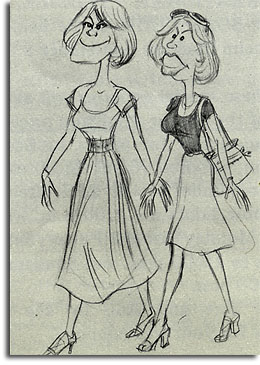 Caricature of Donna Chambers and Wendy Miller by John Musker, 1979