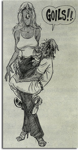 Caricature of Nancy Beaver and Norm Corey by John Musker, 1979