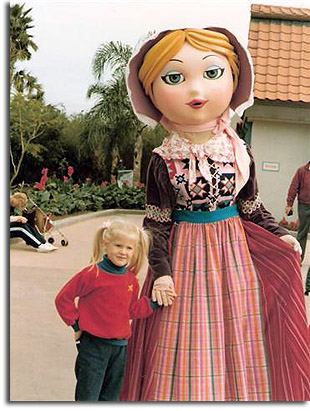 Photo of World Showcase character with future Norway bathroom, 1982