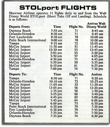 Lake Buena Vista STOLport schedule, Fall 1971