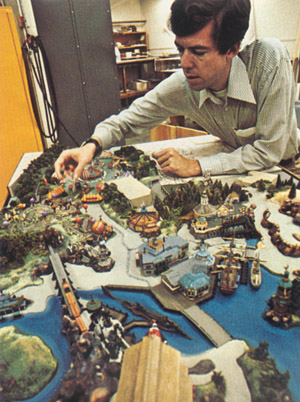 Tony Baxter with models of Discovery Bay and Dumbo's Circus, 1976