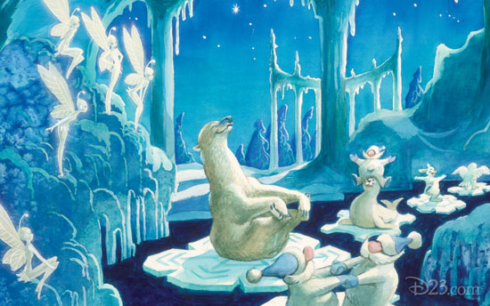 Marc Davis artwork for The Enchanted Snow Palace, a planned but never built attraction designed for Walt Disney World's Magic Kingdom