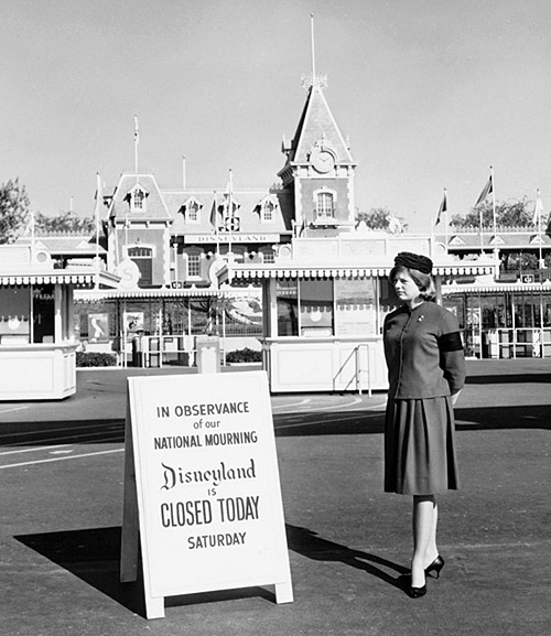 Disneyland, closed for the day, on November 23, 1963, following the assassination of President John F. Kennedy