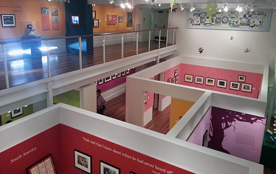 The exhibit provides a color-coded tour through Blair's life in the welcoming Diane Disney Miller Exhibition Hall