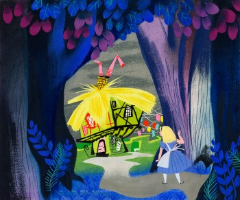 Alice looking at the White Rabbit's house concept art, ca. 1951