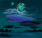 Captain Hook's ship The Jolly Roger flying in the night sky concept art, ca. 1951