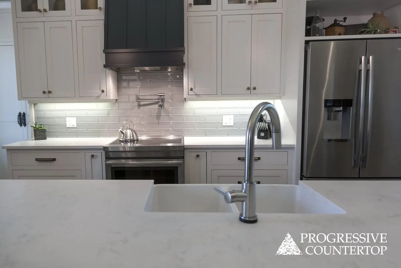 Kitchen Bathroom Quartz Countertops Cambria Torquay Whitney Progressive Countertop