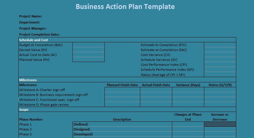 Business Action Plan Template Excel Projectemplates