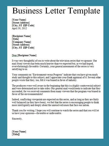 Get Business Letter Template Word Projectemplates
