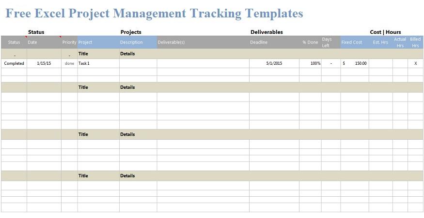 Free Excel Project Management Templates Projectemplates